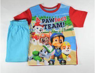 Pijama niño manga corta con pantalón celeste