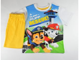 Pijama niño manga corta con pantalón amarillo