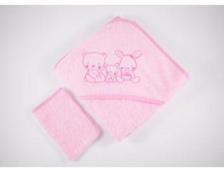 Capa de baño bebe rosa con animalitos