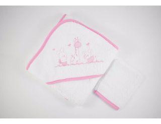Capa de baño bebe blanca y rosa con animalitos