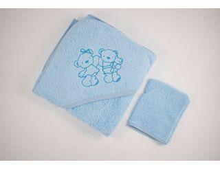 Capa de baño bebe azul con animalitos