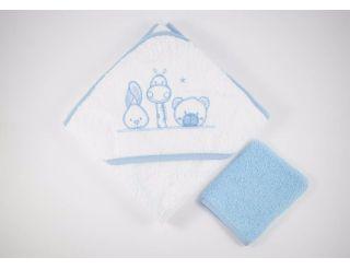 Capa de baño bebe blanca y azul con animalitos