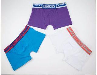 Boxers colores azul, lila y blanco.