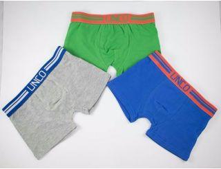 Boxers colores gris, verde y azul.