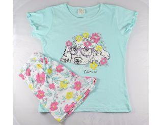 Pijama niña manga corta con perrito y flores