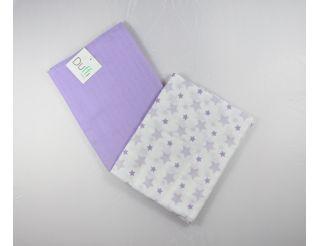 Pack de 2 muselinas lila con estrellas
