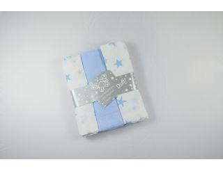 Pack de muselina color azul con diferentes estrellas