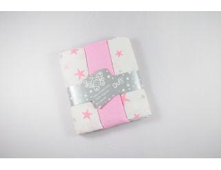 Pack de muselina color rosa con diferentes estrellas