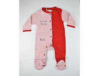 Pelele niño manga larga con rayas rojas y blancas