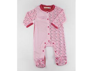 Pelele niña manga larga rosa con topitos de colores