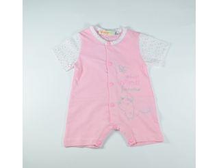 Pelele niña manga corta rosa con topitos de colores