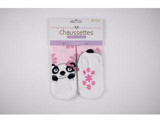 Calcetín antideslizante rosa con oso panda