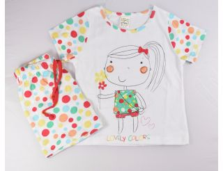 Pijama niña manga corta con topitos colores variados