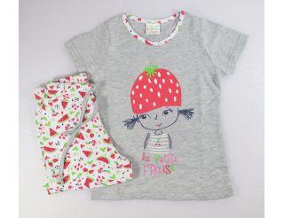 Pijama niña manga corta con dibujitos de sandía