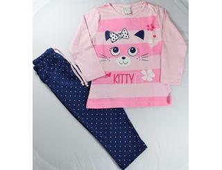 Pijama niña manga larga con cara gatita