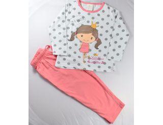 Pijama niña manga larga con niña y corona
