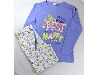 Pijama manga larga con letras y redondas