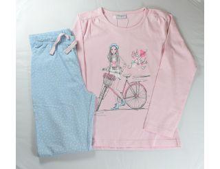 Pijama niña manga larga con niña y bicicleta