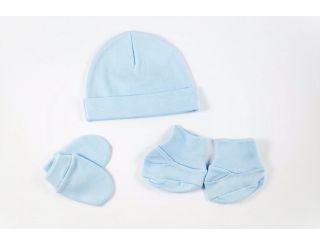 Gorro,manoplas y patucos en azul